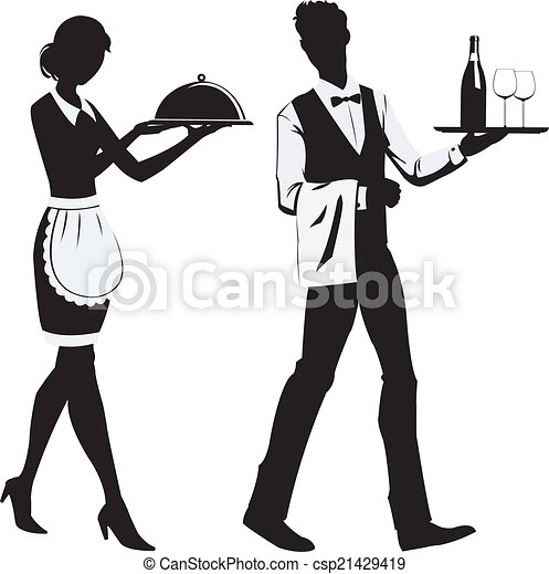 silhouette waiters silhouette of the waitress and the waiter at rh canstockphoto com water clip art images water clip art images