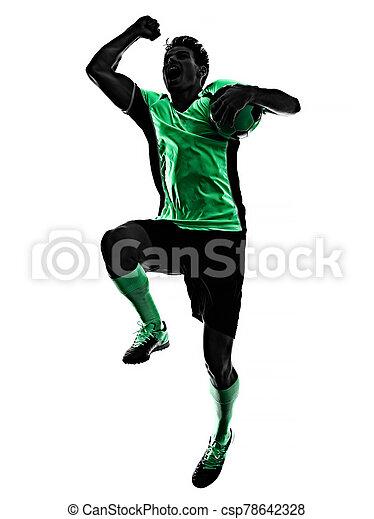 silhouette, weißer hintergrund, mann, spieler, freigestellt, schatten, junger, fußball - csp78642328