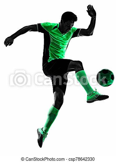 silhouette, weißer hintergrund, mann, spieler, freigestellt, schatten, junger, fußball - csp78642330