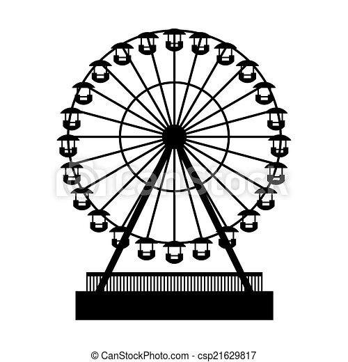 silhouette, wheel., atraktsion, parc, ferris, vecteur - csp21629817