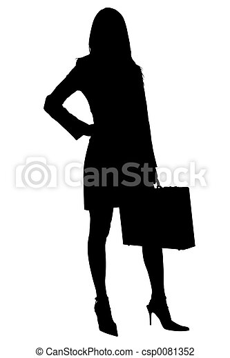 Silhouette of Business Woman with Briefcase - csp0081352