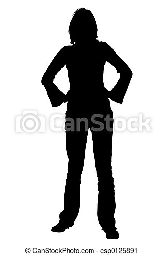 Silhouette Woman Standing with Hands on Hips - csp0125891