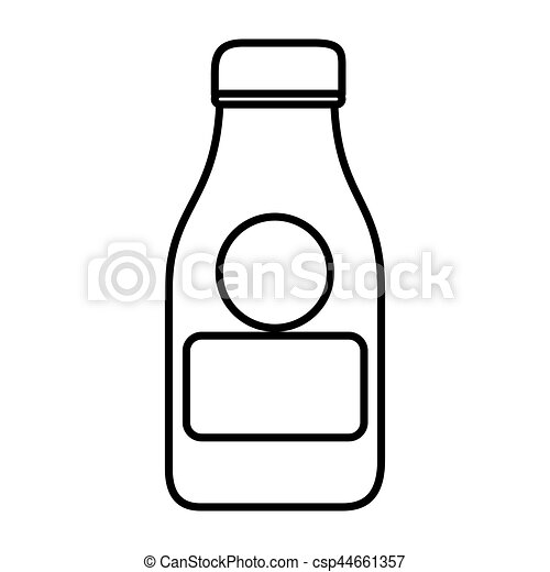 silhouette with glass bottle of milk - csp44661357