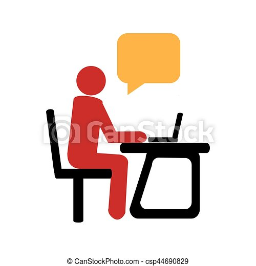 silhouette with manager in office and dialog callout box vector rh canstockphoto com manager clipart black and white manager clipart black and white