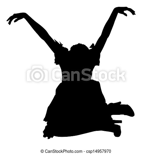 silhouette woman in dress Sitting in Marionette Pose - csp14957970