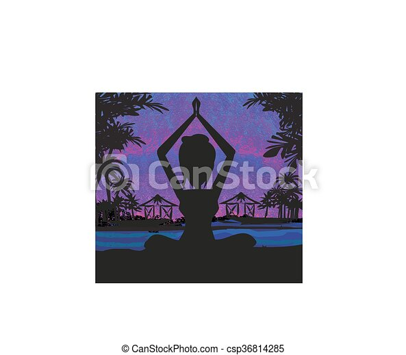 Silhouette woman practicing yoga on the beach at sunset. - csp36814285