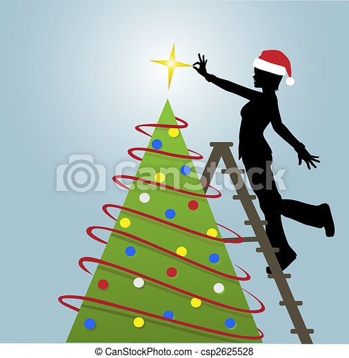 Silhouette Woman Puts Decorations on Christmas Tree - csp2625528