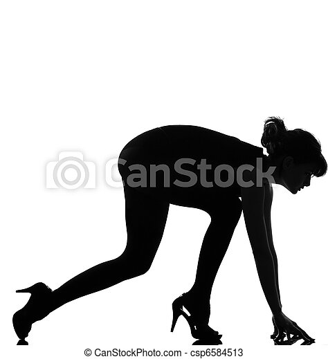 silhouette woman ready to sprint - csp6584513