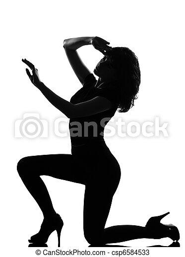 silhouette woman sad despair kneel - csp6584533