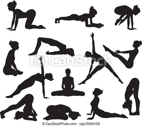Silhouette Yoga poses - csp15004159