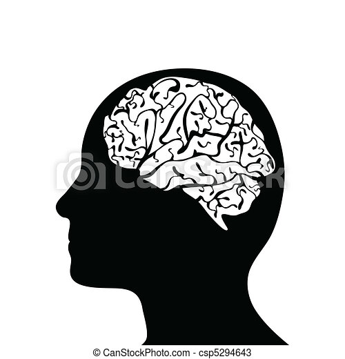 Silhouetted head and brain  - csp5294643