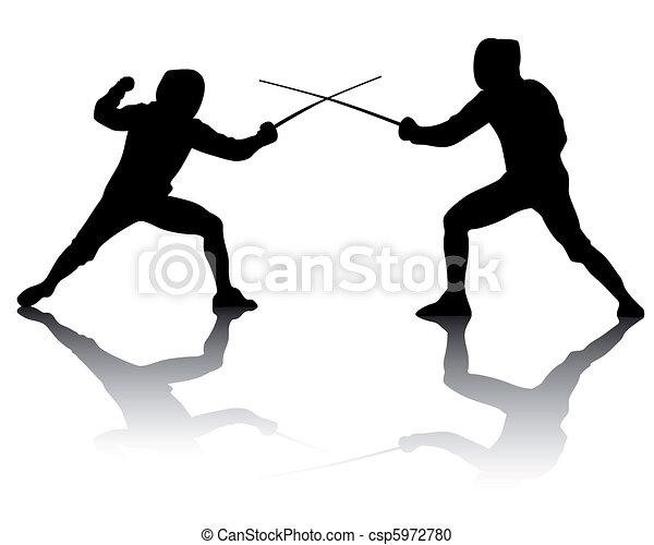 Silhouetten von Athletenzüchtern - csp5972780