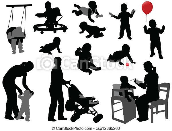silhouetten, babys, kleinkinder - csp12865260