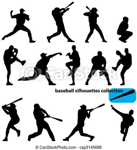 silhouetten, baseball, sammlung - csp3145698