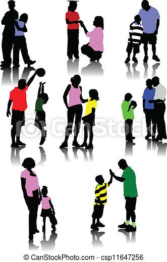 Kinder mit Eltern Silhouetten - csp11647256