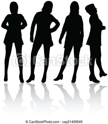Frauen Silhouetten - csp21409549