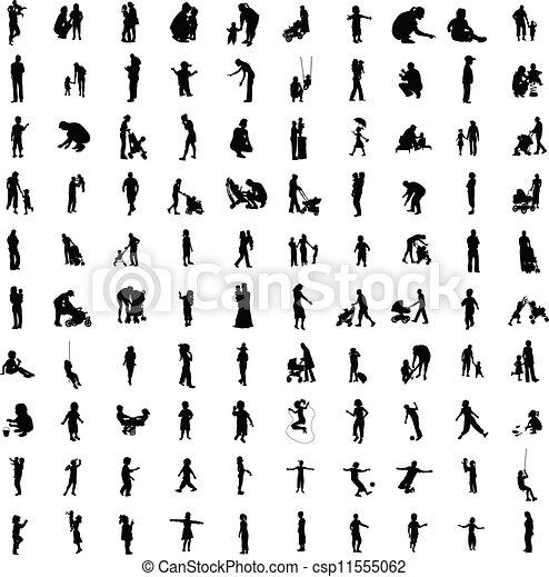 silhouetten, hundert, elternteil, eins - csp11555062