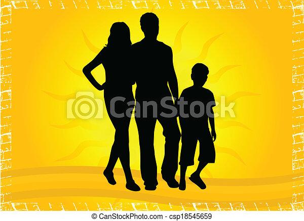Silhouetten von Eltern mit Kindern - csp18545659