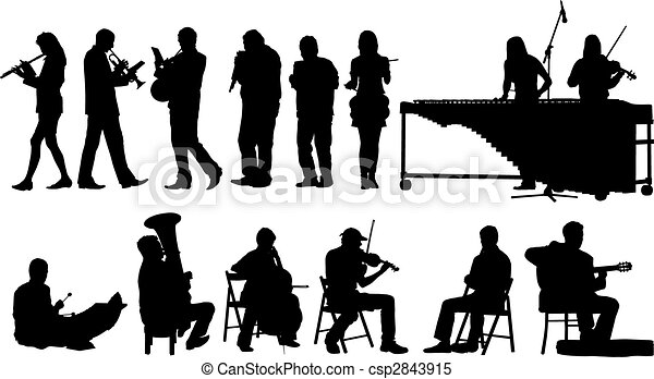 silhouetten, musiker - csp2843915
