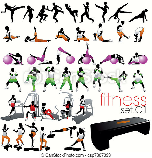 silhouetten, satz, 40, fitness - csp7307033