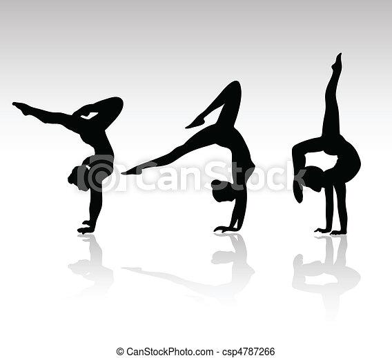 silhouetten, schwarz, turnhalle, m�dchen - csp4787266