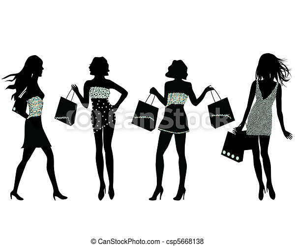 Shopping-Frauen-Silhouette - csp5668138