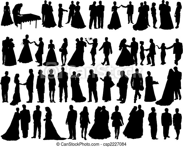 silhouetten, wedding - csp2227084