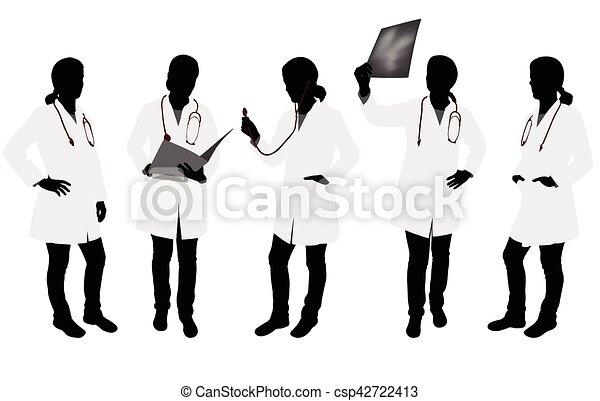 silhouetten, weiblicher doktor - csp42722413