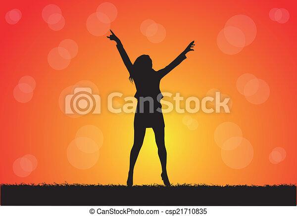 silhouettes, женщины - csp21710835