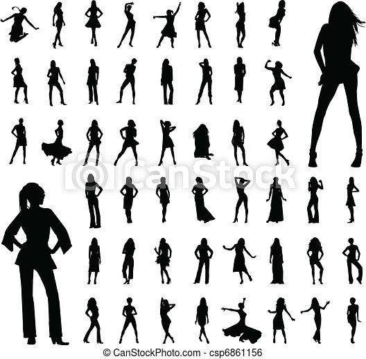 silhouettes, 50, vrouwen - csp6861156