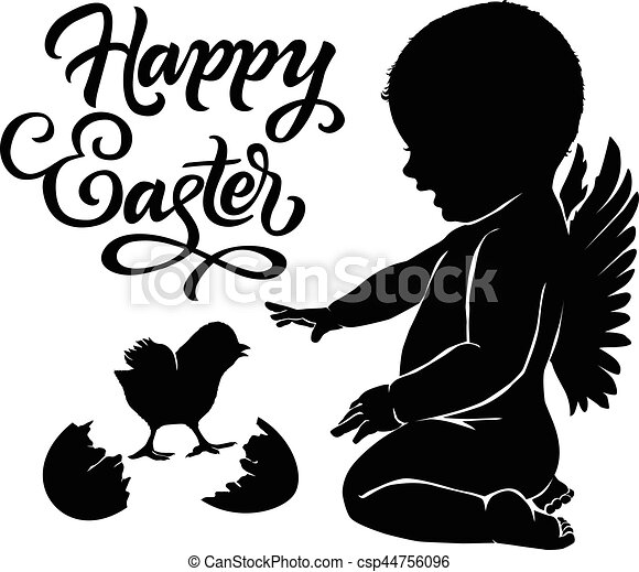 silhouettes angel and baby chick happy easter vector