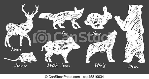 silhouettes, animaux, forêt - csp45810034