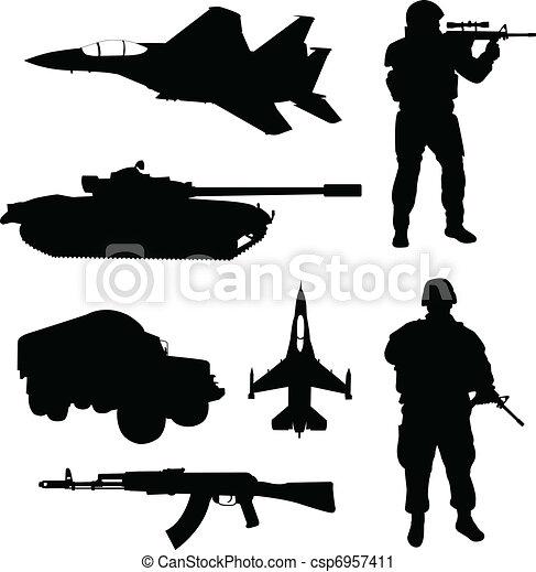 silhouettes, armée - csp6957411