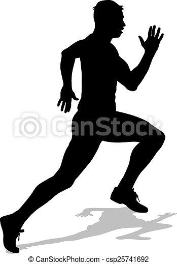 Atleta en carrera, siluetas. - csp25741692