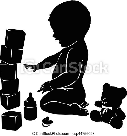 Silhouettes Baby And Toys Silhouette Baby Nipple Teddy Bear And