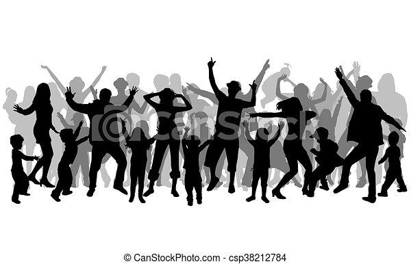 La gente bailando siluetas. - csp38212784