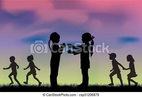 silhouettes., bambini - csp31206979