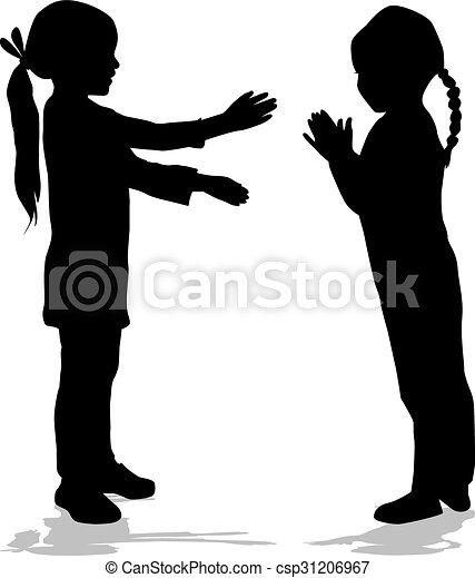 silhouettes., bambini - csp31206967