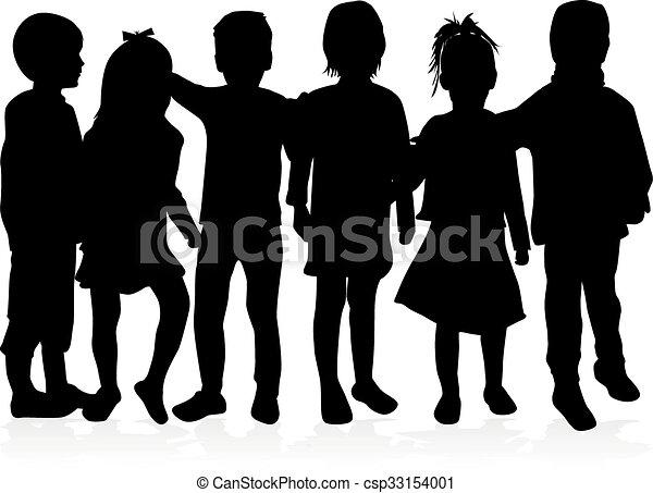 silhouettes., bambini - csp33154001