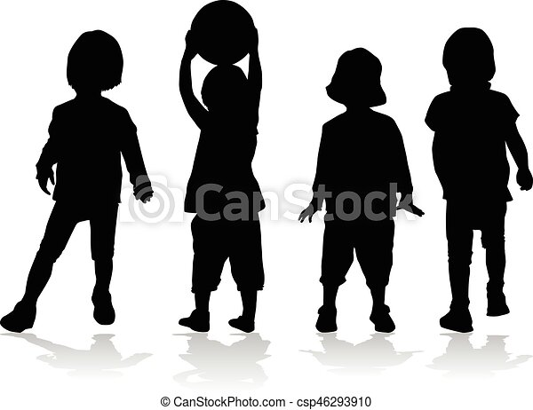 silhouettes., bambini - csp46293910
