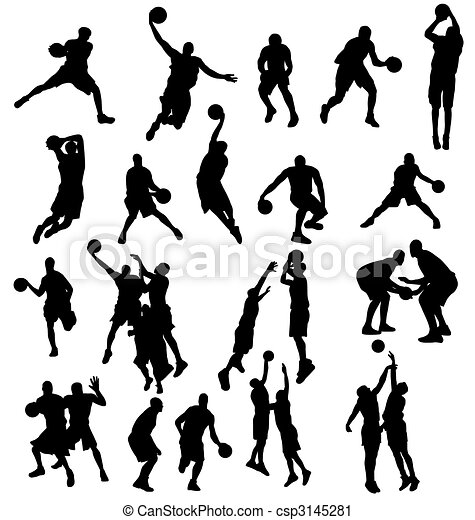 silhouettes, basketbal, verzameling - csp3145281