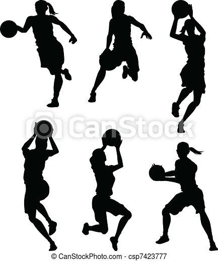 silhouettes, basketboll, kvinnlig, kvinnor - csp7423777