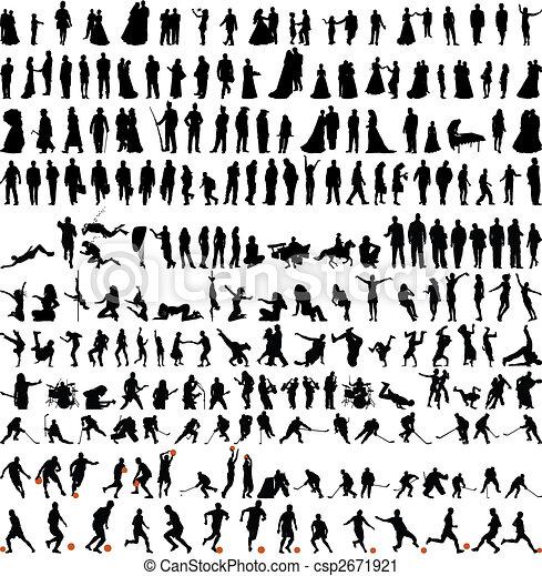 silhouettes, bigest, verzameling, mensen - csp2671921
