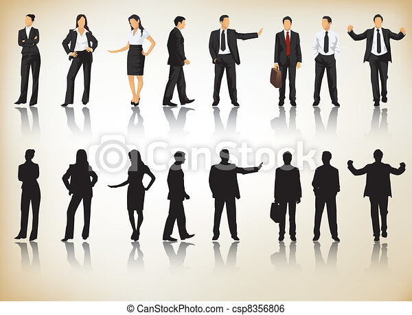 silhouettes, business - csp8356806