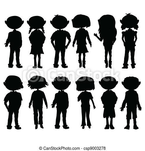 silhouettes cartoon kids - csp9003278