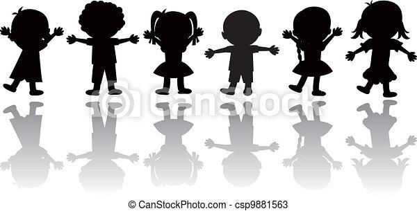 silhouettes children - csp9881563