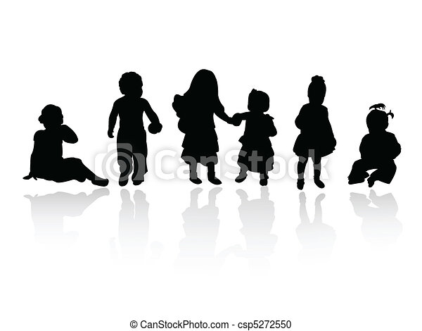 silhouettes - children - csp5272550