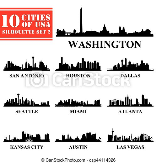 Silhouettes Cities of USA Set 2 - csp44114326