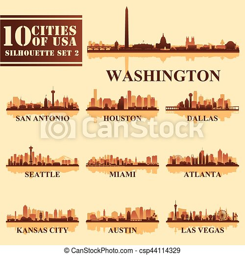 Silhouettes Cities of USA Set 2 - csp44114329