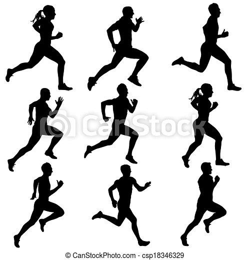 silhouettes., correndo, vettore, set, illustration. - csp18346329